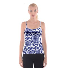 Blue And White Flower Background Spaghetti Strap Top