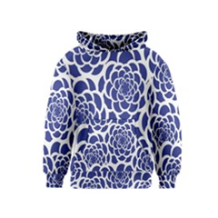 Blue And White Flower Background Kids  Pullover Hoodie