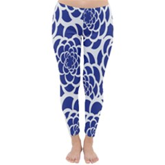 Blue And White Flower Background Classic Winter Leggings