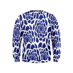 Blue And White Flower Background Kids  Sweatshirt