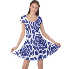 Blue And White Flower Background Cap Sleeve Dresses