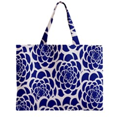 Blue And White Flower Background Zipper Mini Tote Bag