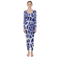Blue And White Flower Background Long Sleeve Catsuit