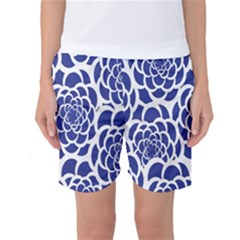 Blue And White Flower Background Women s Basketball Shorts