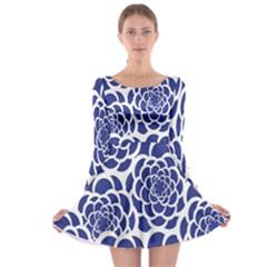 Blue And White Flower Background Long Sleeve Skater Dress