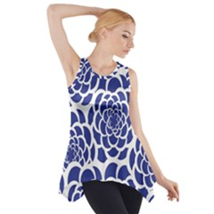 Blue And White Flower Background Side Drop Tank Tunic