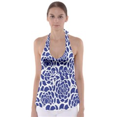 Blue And White Flower Background Babydoll Tankini Top