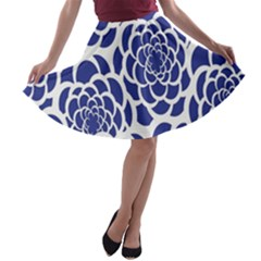 Blue And White Flower Background A Line Skater Skirt