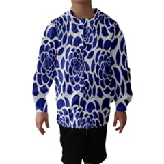 Blue And White Flower Background Hooded Wind Breaker (Kids)