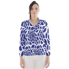 Blue And White Flower Background Wind Breaker (women)