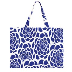 Blue And White Flower Background Large Tote Bag