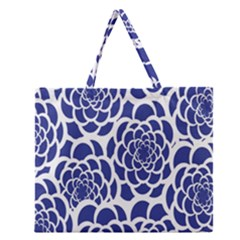 Blue And White Flower Background Zipper Large Tote Bag