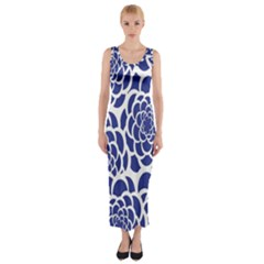 Blue And White Flower Background Fitted Maxi Dress