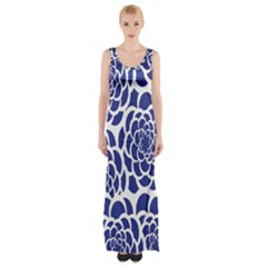 Blue And White Flower Background Maxi Thigh Split Dress