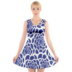 Blue And White Flower Background V-Neck Sleeveless Skater Dress