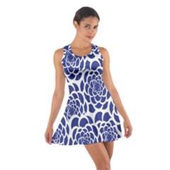 Blue And White Flower Background Cotton Racerback Dress