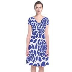 Blue And White Flower Background Short Sleeve Front Wrap Dress