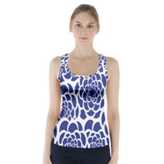 Blue And White Flower Background Racer Back Sports Top