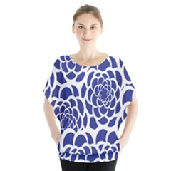Blue And White Flower Background Blouse