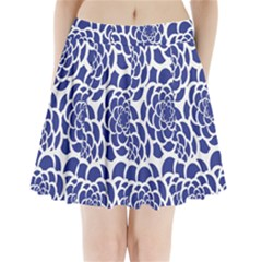 Blue And White Flower Background Pleated Mini Skirt