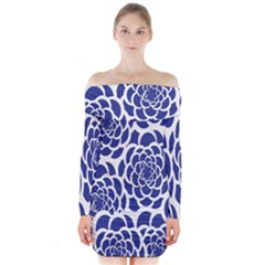 Blue And White Flower Background Long Sleeve Off Shoulder Dress