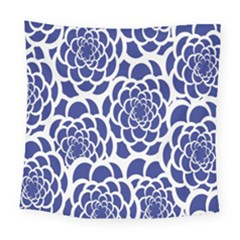Blue And White Flower Background Square Tapestry (large)
