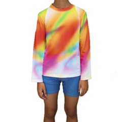 Blur Color Colorful Background Kids  Long Sleeve Swimwear