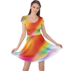 Blur Color Colorful Background Cap Sleeve Dresses