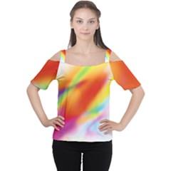 Blur Color Colorful Background Women s Cutout Shoulder Tee