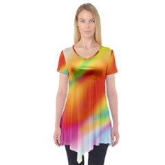Blur Color Colorful Background Short Sleeve Tunic