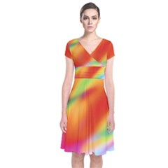 Blur Color Colorful Background Short Sleeve Front Wrap Dress