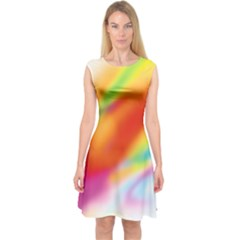 Blur Color Colorful Background Capsleeve Midi Dress
