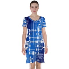 Board Circuits Trace Control Center Short Sleeve Nightdress