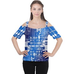 Board Circuits Trace Control Center Women s Cutout Shoulder Tee