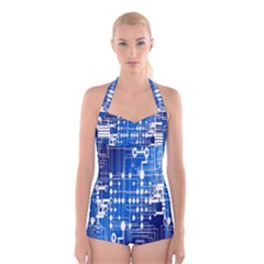 Board Circuits Trace Control Center Boyleg Halter Swimsuit