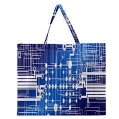 Board Circuits Trace Control Center Zipper Large Tote Bag