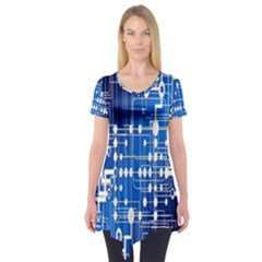 Board Circuits Trace Control Center Short Sleeve Tunic