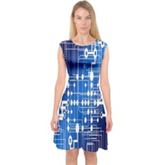 Board Circuits Trace Control Center Capsleeve Midi Dress