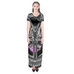 Bord Edge Wheel Tire Black Car Short Sleeve Maxi Dress