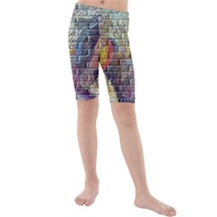 Brick Of Walls With Color Patterns Kids  Mid Length Swim Shorts