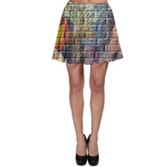 Brick Of Walls With Color Patterns Skater Skirt