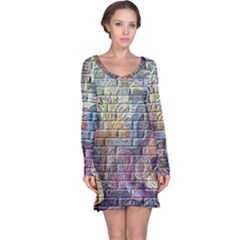 Brick Of Walls With Color Patterns Long Sleeve Nightdress