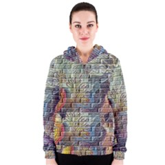 Brick Of Walls With Color Patterns Women s Zipper Hoodie