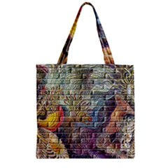 Brick Of Walls With Color Patterns Zipper Grocery Tote Bag
