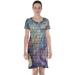 Brick Of Walls With Color Patterns Short Sleeve Nightdress