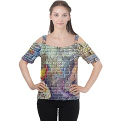 Brick Of Walls With Color Patterns Women s Cutout Shoulder Tee