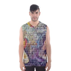 Brick Of Walls With Color Patterns Men s Basketball Tank Top