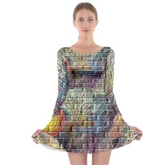 Brick Of Walls With Color Patterns Long Sleeve Skater Dress