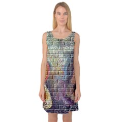 Brick Of Walls With Color Patterns Sleeveless Satin Nightdress