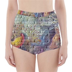 Brick Of Walls With Color Patterns High Waisted Bikini Bottoms